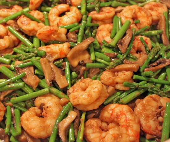 Asparagus Mushroom and Shrimp Stir-Fry