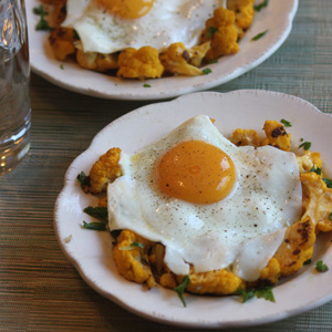 Eggs over Cauliflower