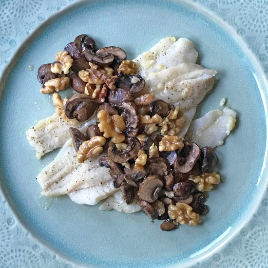 Fish with Walnuts and Mushrooms