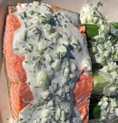 Wild Salmon with Cucumber Dill Sauce