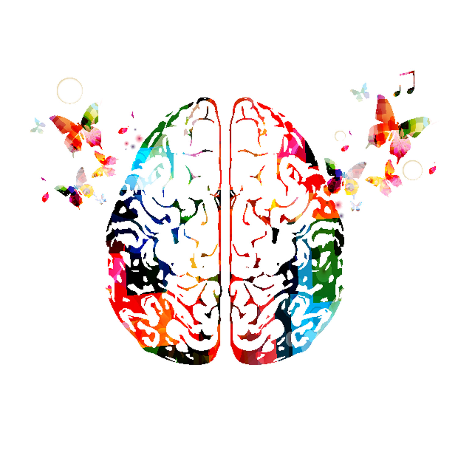 Colorful Brain with butterflies