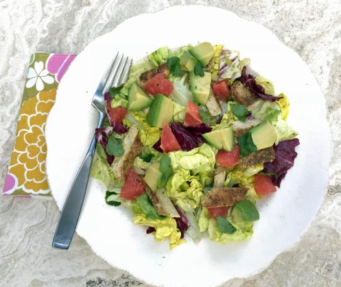 Mixed Greens with Avocado, Chicken, and Garlic-Herb Vinaigrette