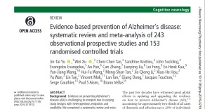Evidence-based prevention of Alzheimer's disease: systemic review
